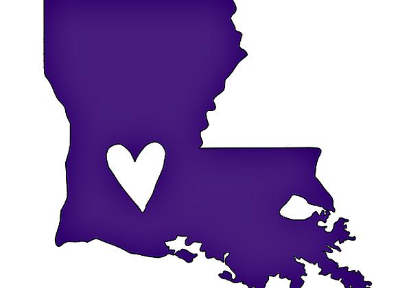Louisiana With Embedded Heart Vinyl Decal