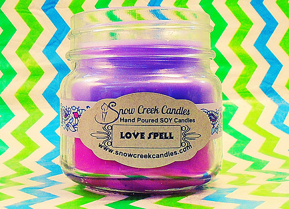 Love Spell (type) 8 oz. Mason Jar Candle