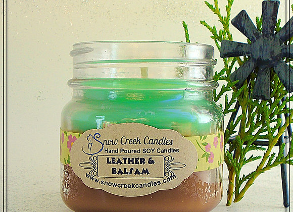 Leather and Balsam 8 oz. Mason Jar Candle