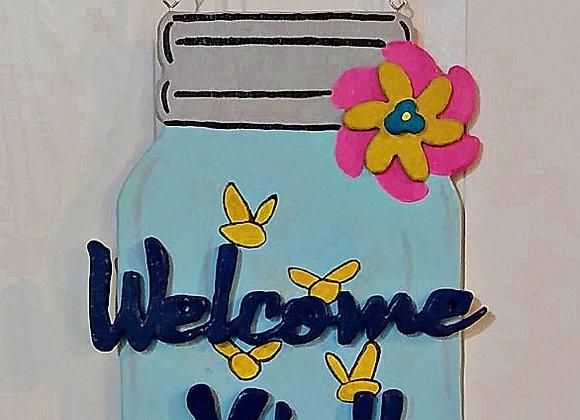 Welcome Y'all Mason Jar Wooden Door Hanger