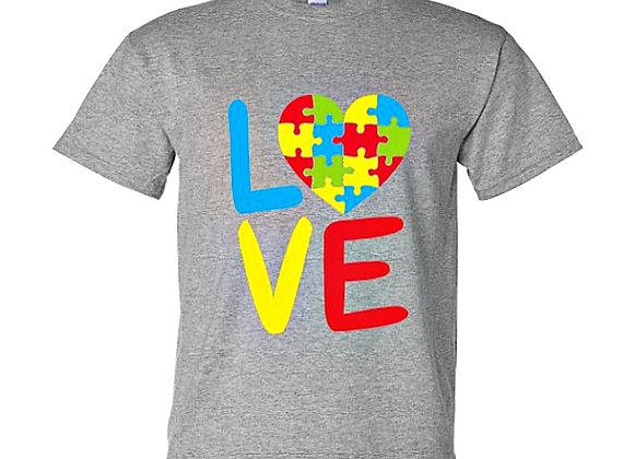 Love Puzzle Pieces Autism Awareness Unisex T-Shirt
