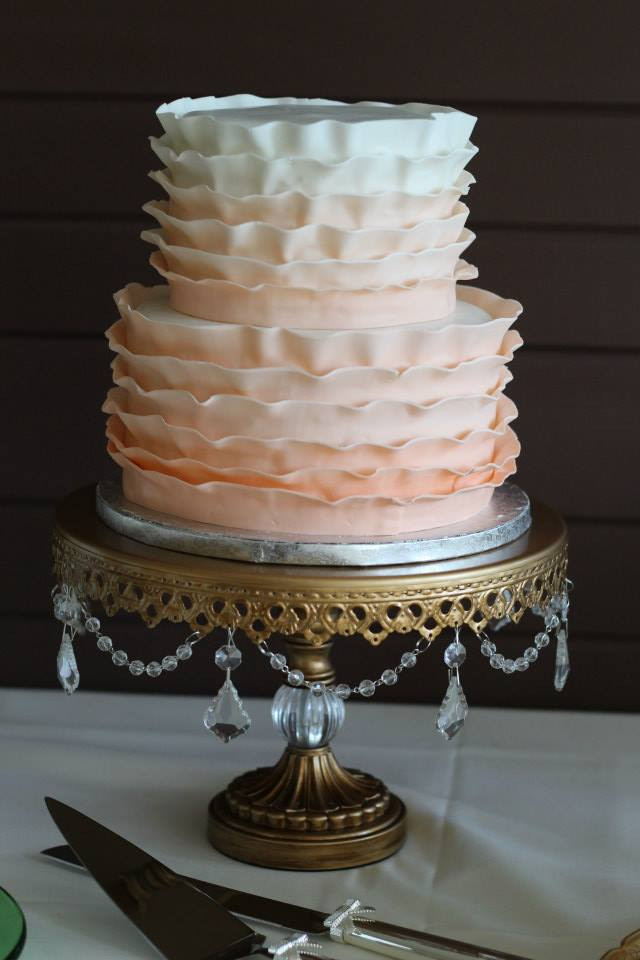 Ombre Ruffle Wedding Cake