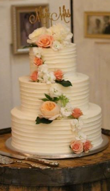 Horizontal Texture Buttercream Wedding Cake