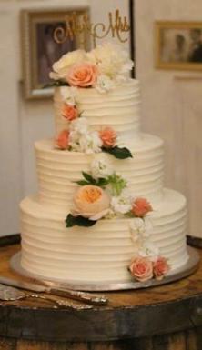 Horizontal Texture Buttercream Wedding Cake