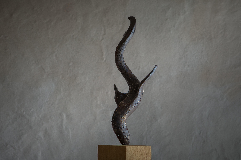 Bird Swallowing Fish - bronze