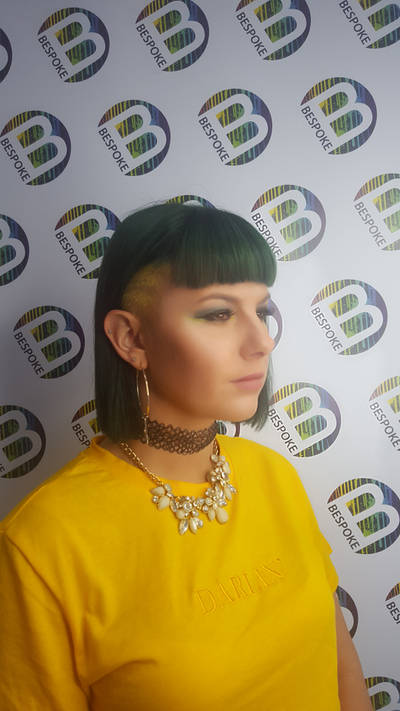 Green Hair with Yellow Shaved Panel