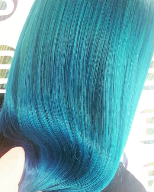 Turquoise Shiny Hair Colour