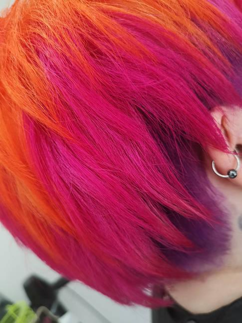 Pink and Orange Short Hair