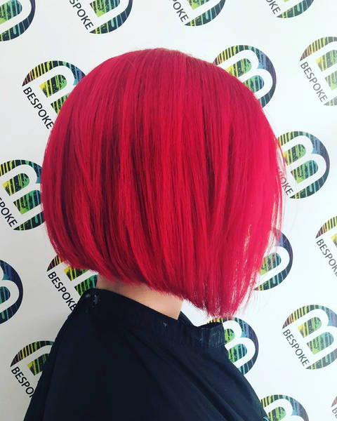 Sharp Bob and Colourful Red Hair
