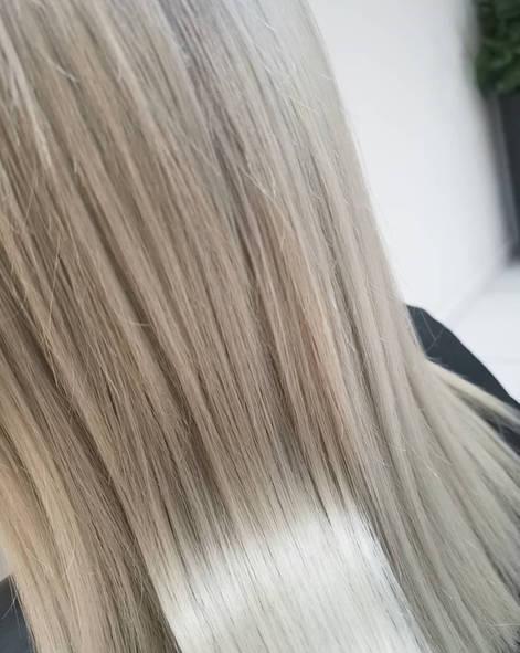 Close up Silver Blonde Hair Colour