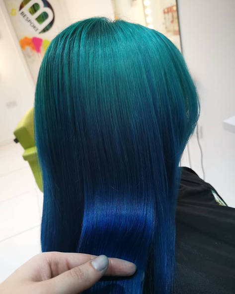 Green and Blue Blended Hair Colour