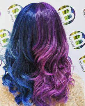 Split Blue and Purple Hair Colour