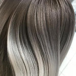 Silver Balayage With Dark Root Hair
