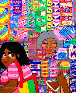Sariling Sari-Sari (Our Own Store), paint pen and acrylic on canvas