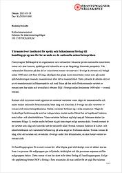 Yttrande ISOFs förslag till handlingspro
