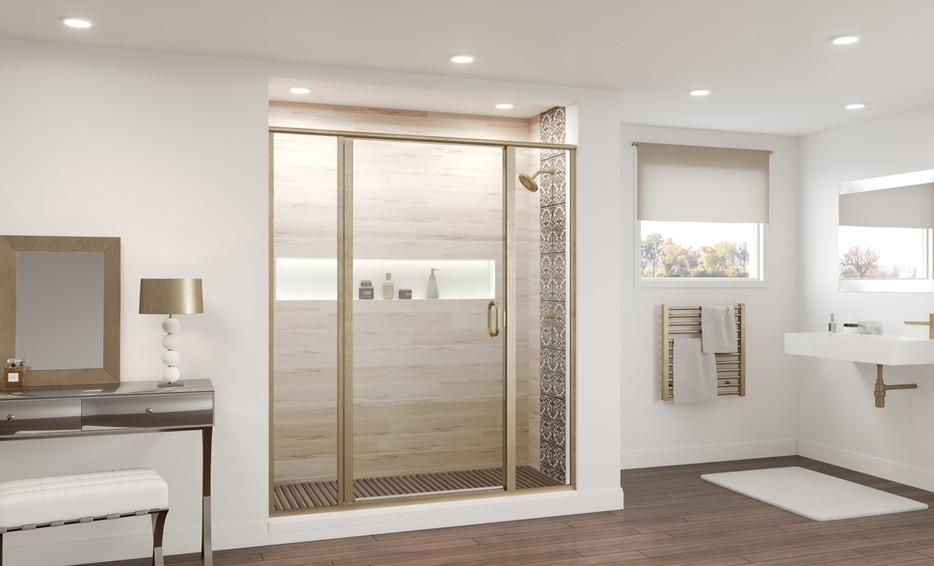 Semi-Frameless Panel Swing Door and Panel