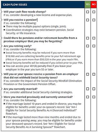 cash flow in retirement checklist