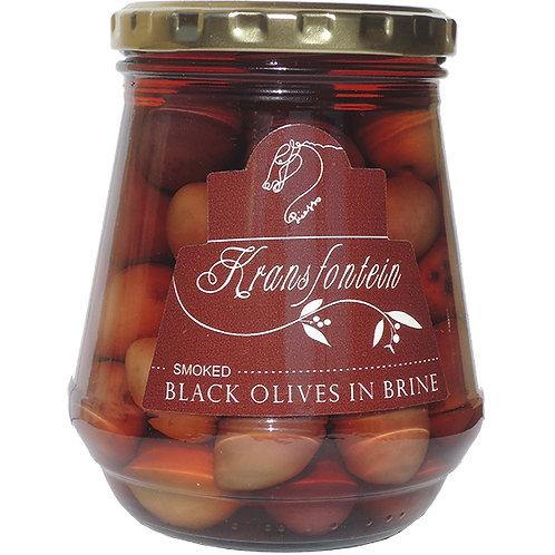 Kransfontein Black Olives in Brine - Smoked (375ml)