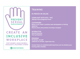 Reminder: October 9th Deadline for MandatorySexual Harassment Prevention Training