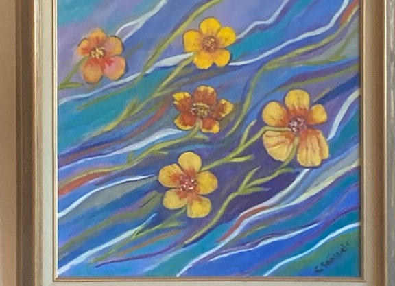 Sharon Lilly Samuels - Five Floating Flowers