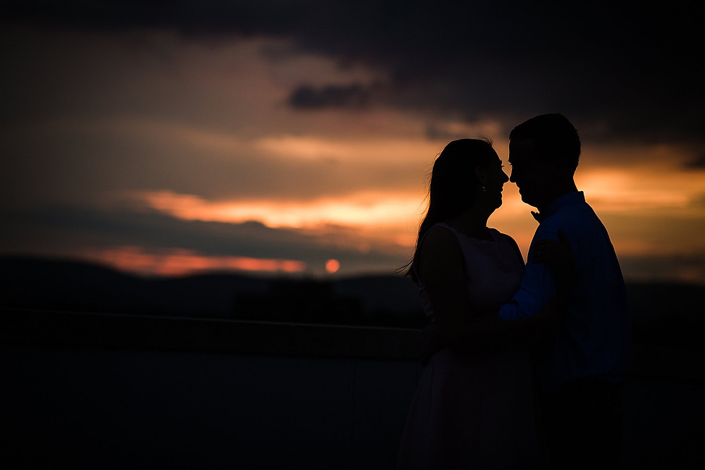 downtown frederick md summer sunset engagement photography silhouette