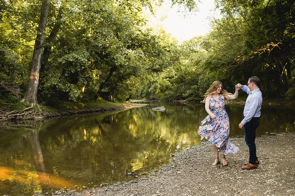 creek engagement session sunset