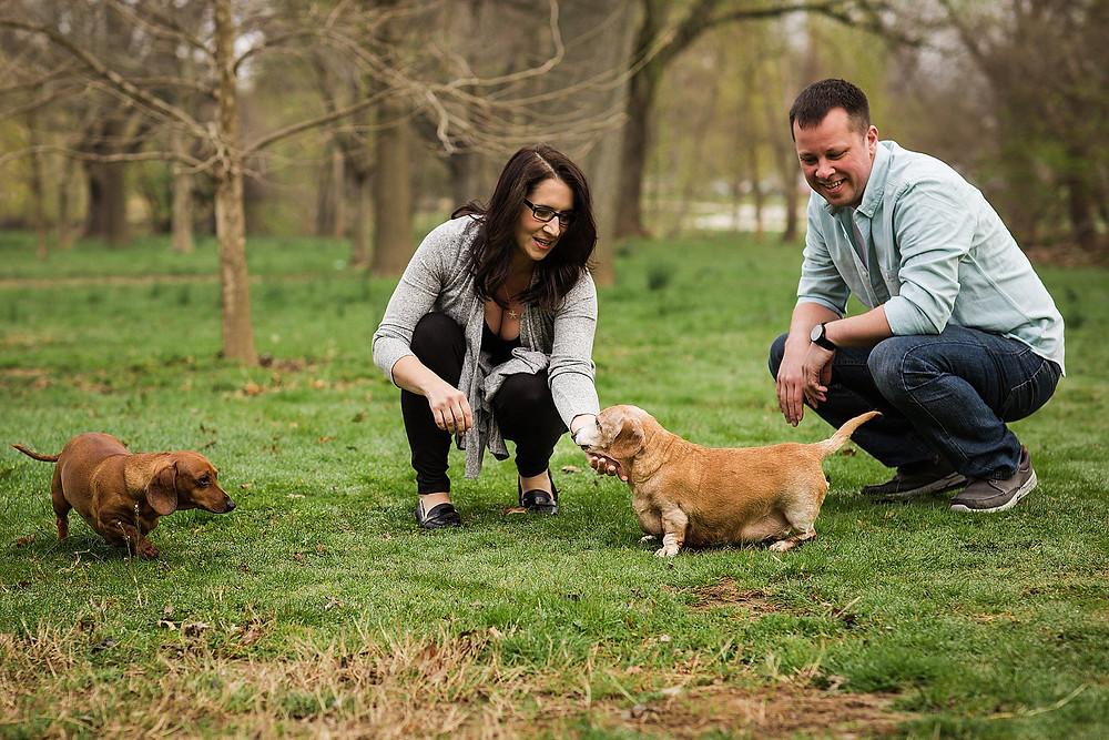 baker park frederick maryland engagement photography dachshund