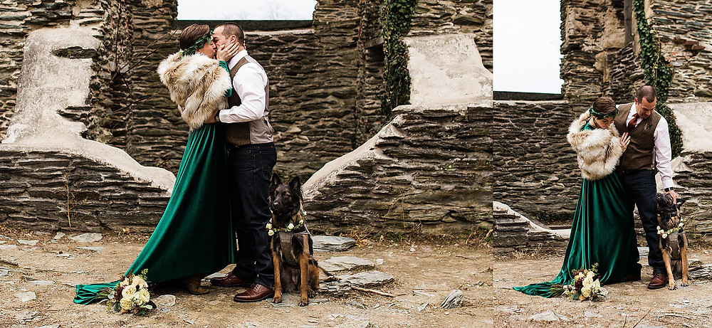 Harpers Ferry elopement wedding winter St. John's ruins green velvet dress