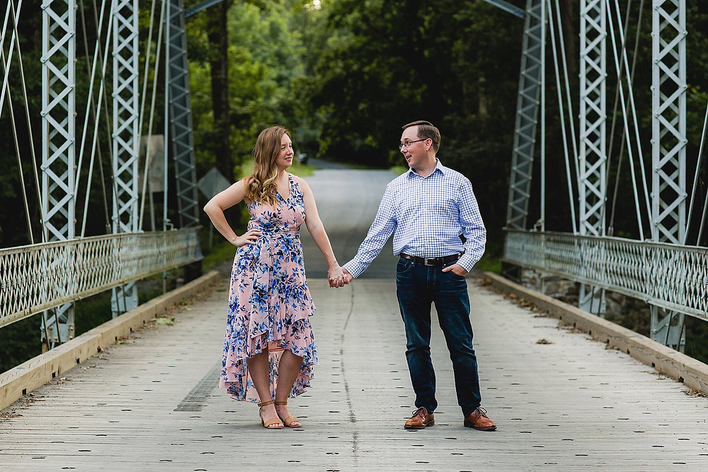 iron bridge engagement session sunset