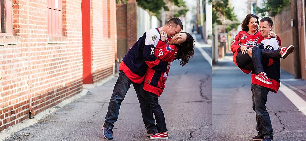 downtown frederick maryland engagement photography dachshund washington capitals