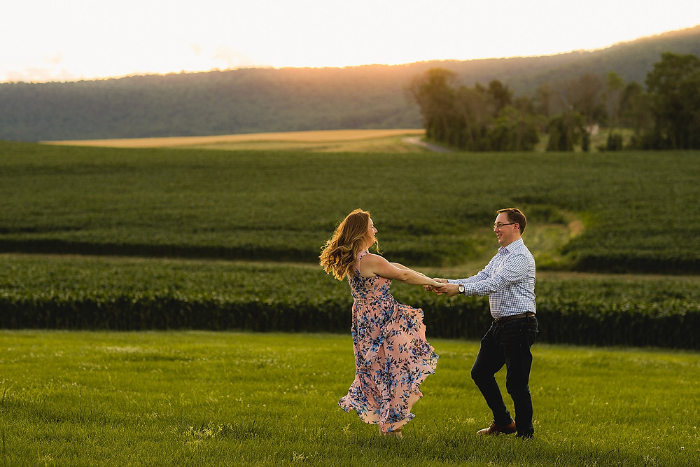 farm engagement session sunset