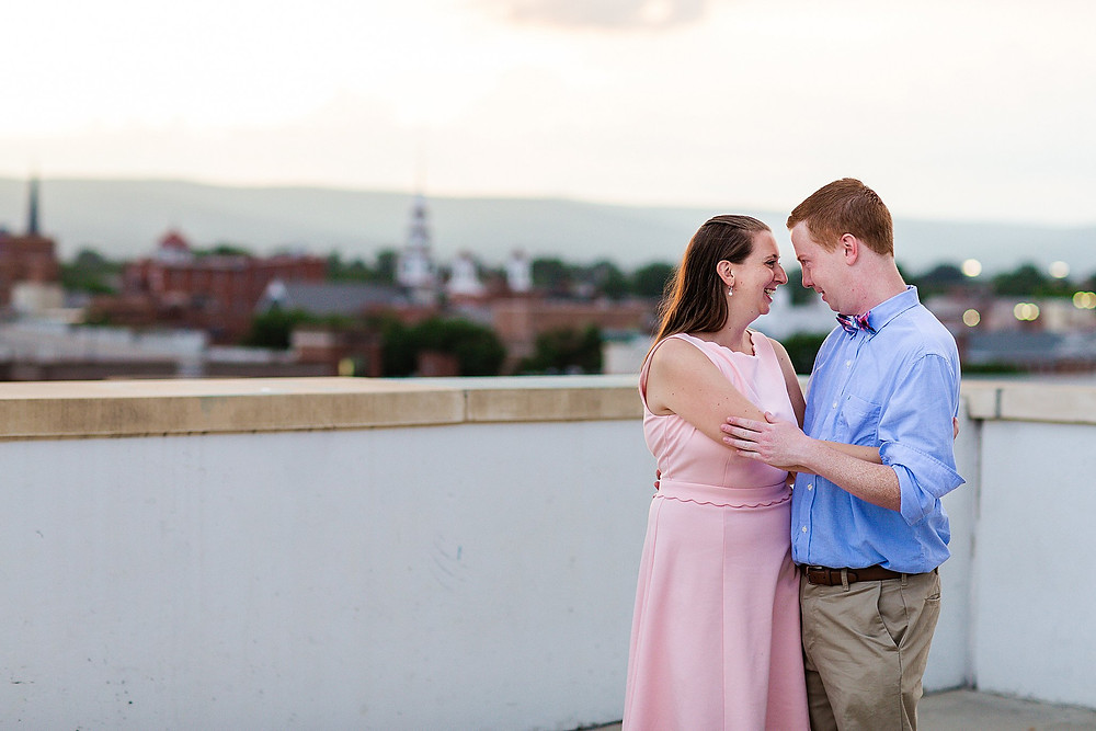 downtown frederick md summer sunset engagement photography parking deck