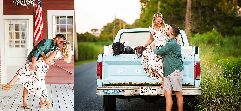 st michaels maryland engagement labs ford truck sunset