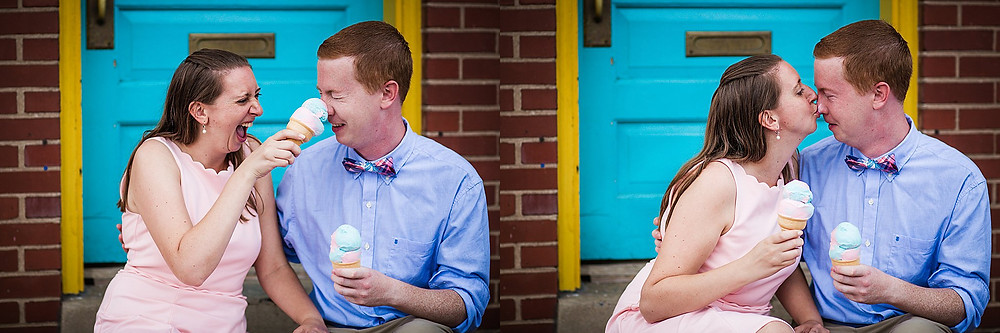 downtown frederick md summer sunset engagement photography frederick fudge and ice cream