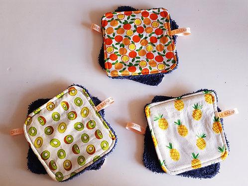 Lingette lavable motifs fruits