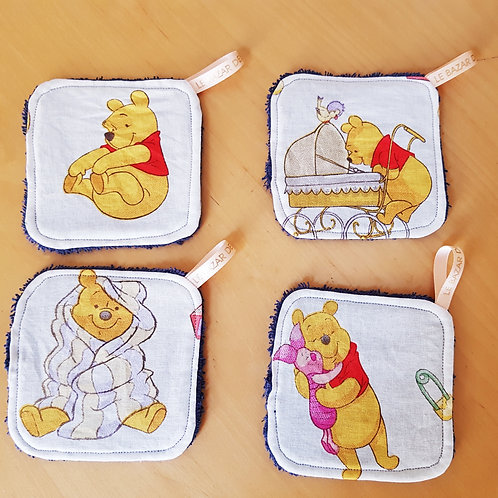Ensemble lingettes lavables et corbeille Winnie l'ourson