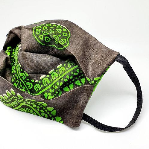 Masque alternatif FM tissu wax gris et vert