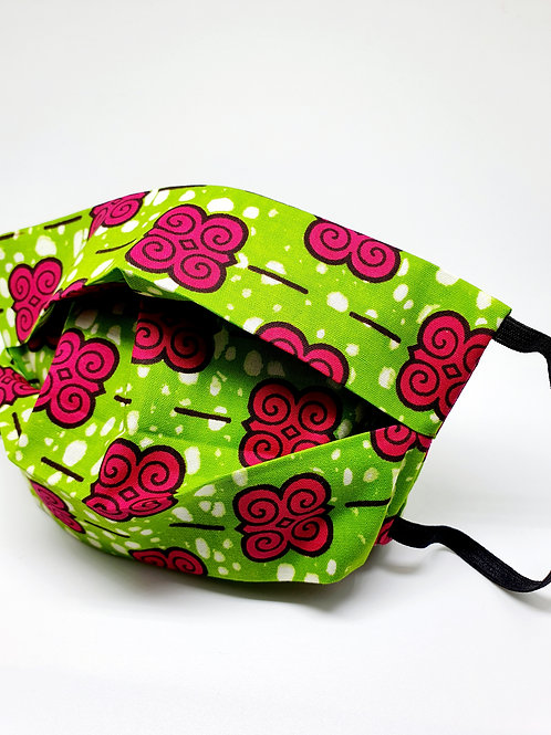 Masque alternatif FM tissu Wax vert et fushia