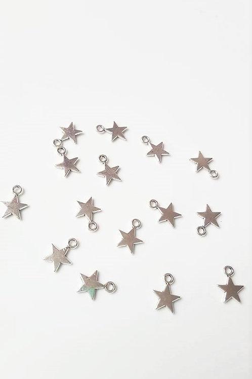 Breloque étoile en métal argenté