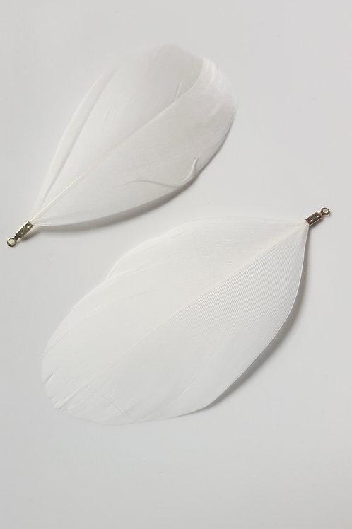 La grande paire de plumes  blanche avec attache argenté