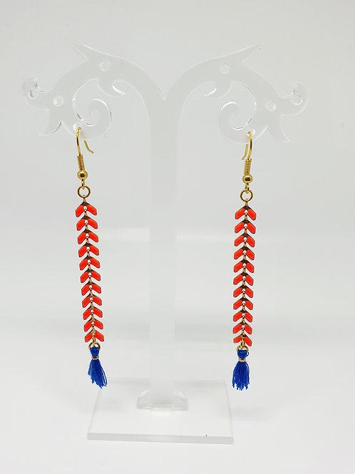 Paire de boucles d'oreilles laiton et argent 925 pendante orange et bleu