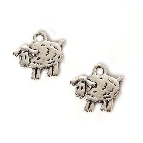 Breloque petite mouton en métal argenté