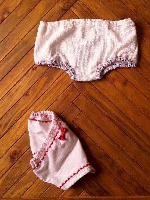 Cache culotte blanc enfant bloomer biais graphique