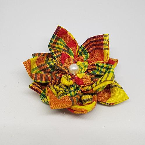 Grande pince à cheveux fleur tissu Madras
