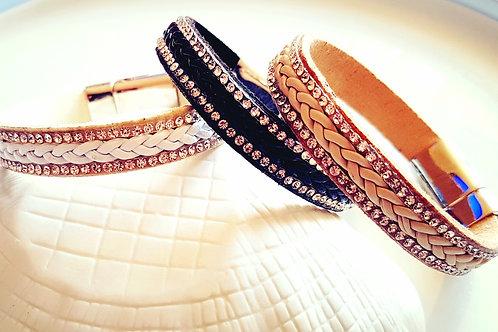 Bracelet strass et simili cuir