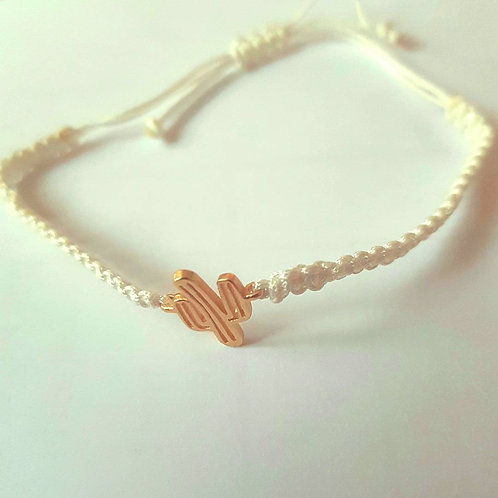 Bracelet minimaliste cactus blanc