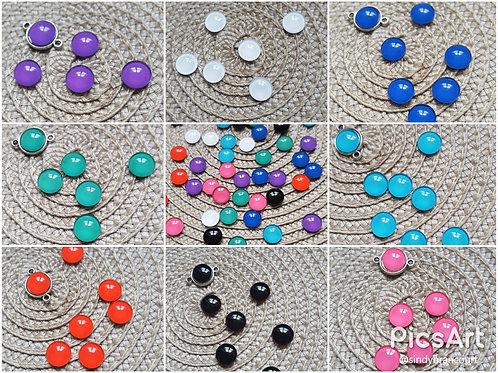 Lot de 8 mini cabochons rond couleur uni