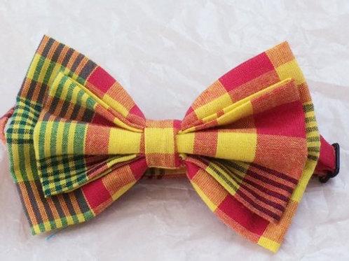 Le noeud papillon double noeuds tissu Madras jaune et orange