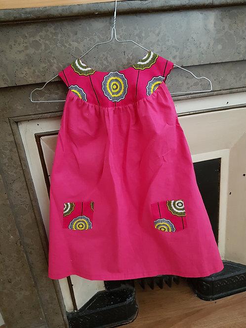 Robe rose avec wax 3-4 ans