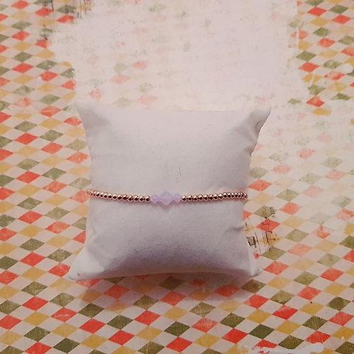 Bracelet minimaliste perles rose gold et cristal toupie